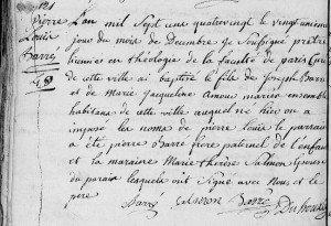 AD08 - Etudes du prêtre sur acte de naissance 1780 Rocroi