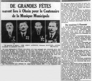 Journal 16091938 Ohain - Centenaire Musique Municipale - Albert Joseph AUBRUN